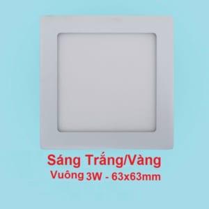 Đèn LED Âm Trần Siêu Mỏng Vuông 3W 63x63mm