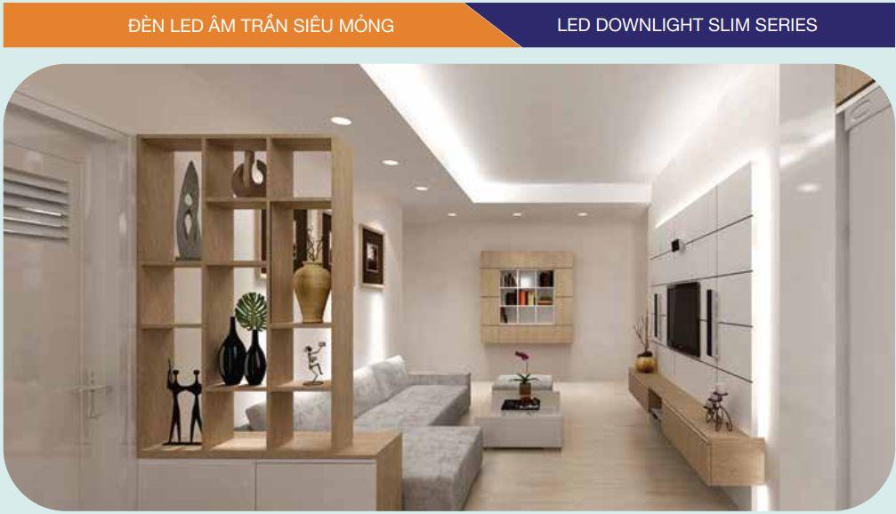 Đèn Led âm trần tròn siêu mỏng trang trí không gian phòng khách