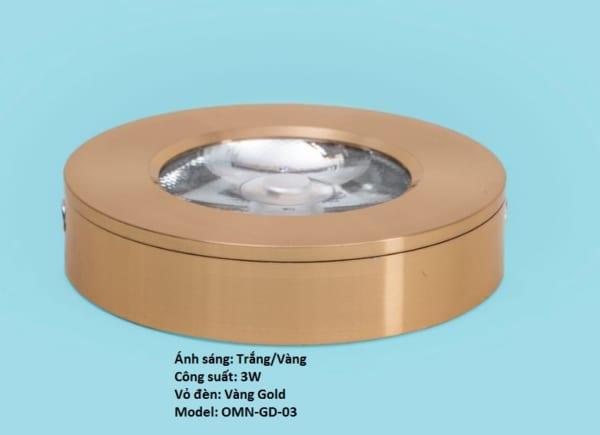 Đèn led ốp nổi mini 3W vỏ vàng