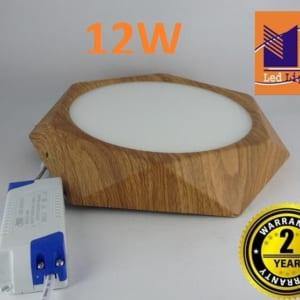 Đèn ốp nổi lục giác vân gỗ 12W