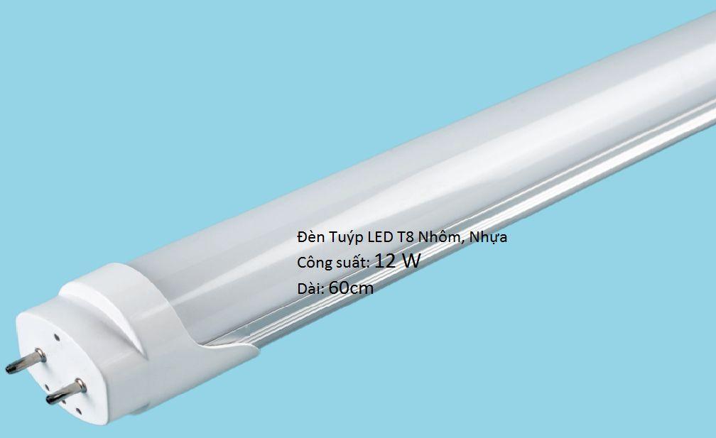 Đèn Tuýp LED T8 12w 60cm nhôm nhựa