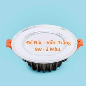 Đèn LED âm trần đế đúc viền trắng 3 màu 9w