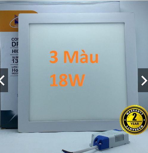 Đèn led âm trần vuông siêu mỏng 3 màu 18w