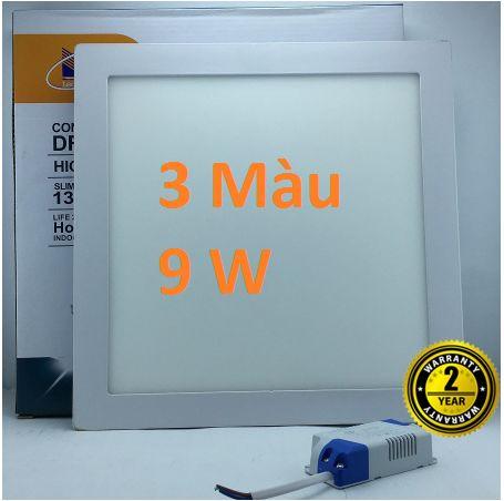 Đèn led âm trần vuông 3 màu 9w siêu mỏng