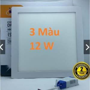 Đèn led âm trần vuông siêu mỏng 3 màu 12w