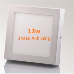 Đèn led mâm vuông ốp nổi 3 màu ánh sáng 12w