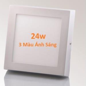 Đèn led mâm vuông ốp nổi 3 màu ánh sáng 24w