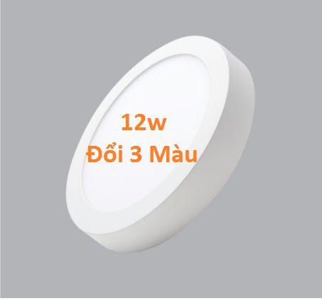 Đèn led ốp trần nổi tròn 3 chế độ màu 12w