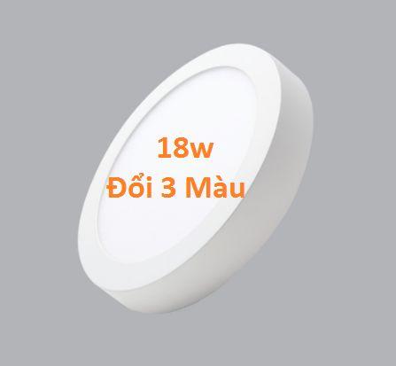 Đèn led ốp trần nổi tròn 3 chế độ ánh sáng 18w