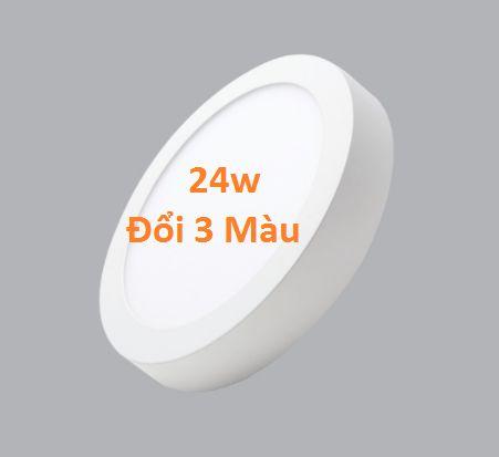 Đèn led ốp trần nổi tròn 3 chế độ màu 24w